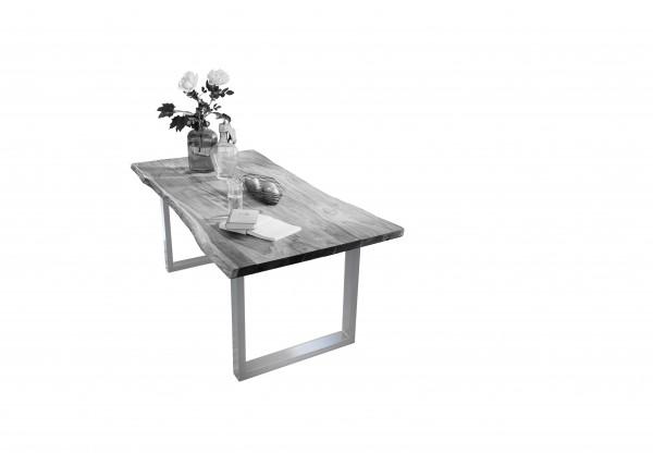 Tisch 180 X 90 Cm Platte Antikgrau Gestell Silber Tische 07107