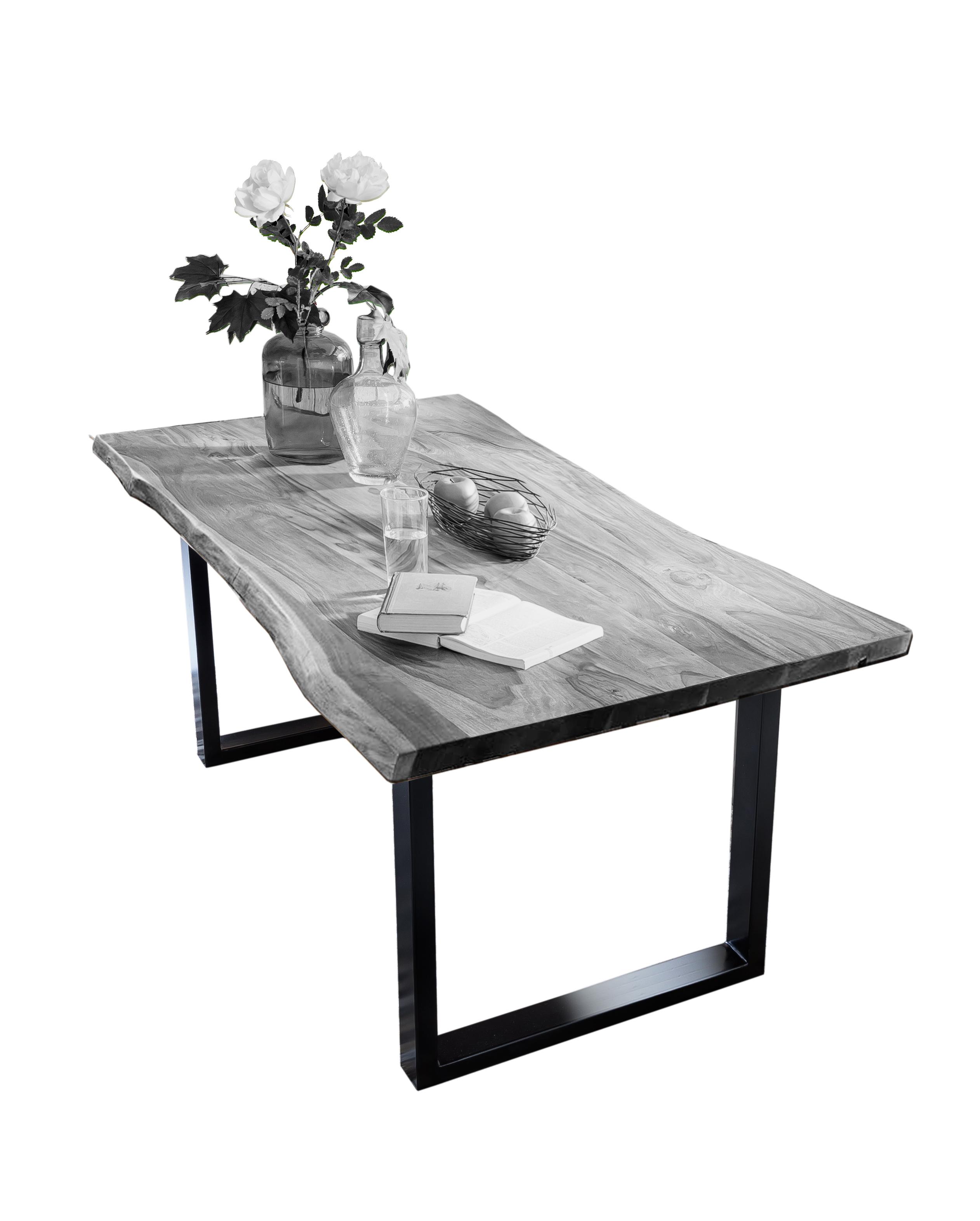 Tisch 180 x 90 cm Platte antikgrau Gestell schwarz TISCHE