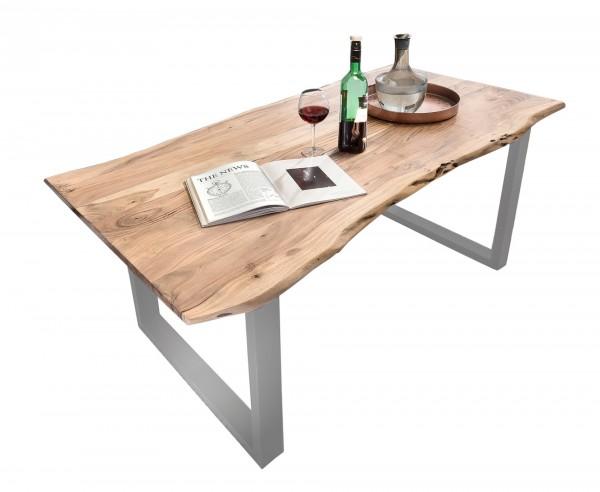 Tisch 180 x 90 cm, Platte 36 mm natur, Gestell silber (TISCHE) 07107-54